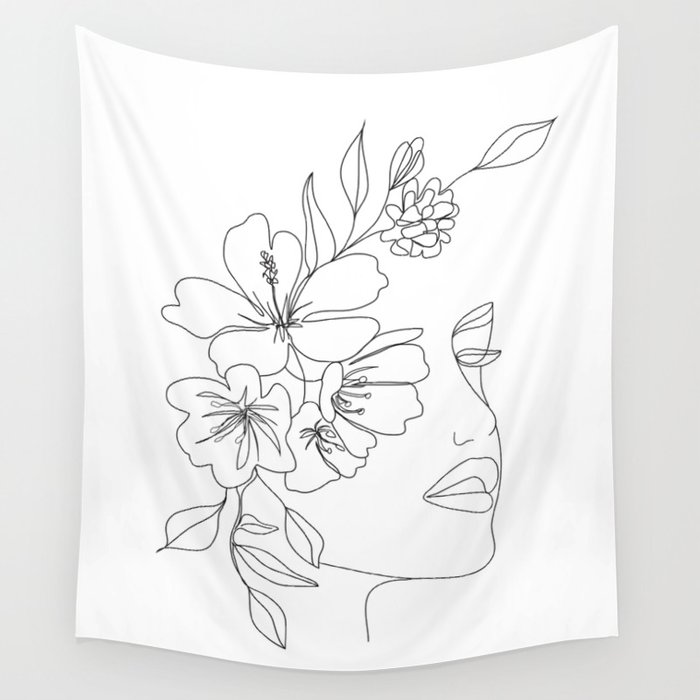 Minimal Line Art Woman Face II Wall Tapestry