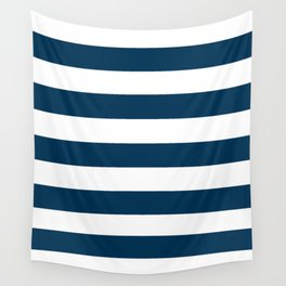 Prussian blue - solid color - white stripes pattern Wall Tapestry