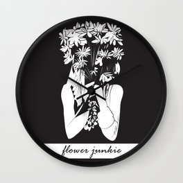 Flower Junkie - Black and White Digital Drawing of Girl holding Flowers Wall Clock