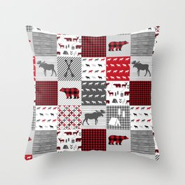 Plaid camping cabin outdoors nature quilt design gender neutral kids baby design Throw Pillow