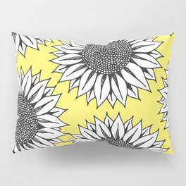 Yellow Sunflower in Black and White Hand Drawing Pillow Sham