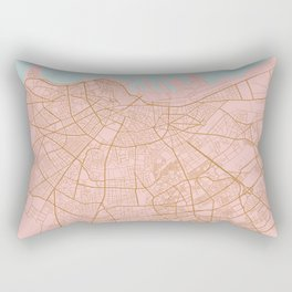 Casablanca map, Morocco Rectangular Pillow