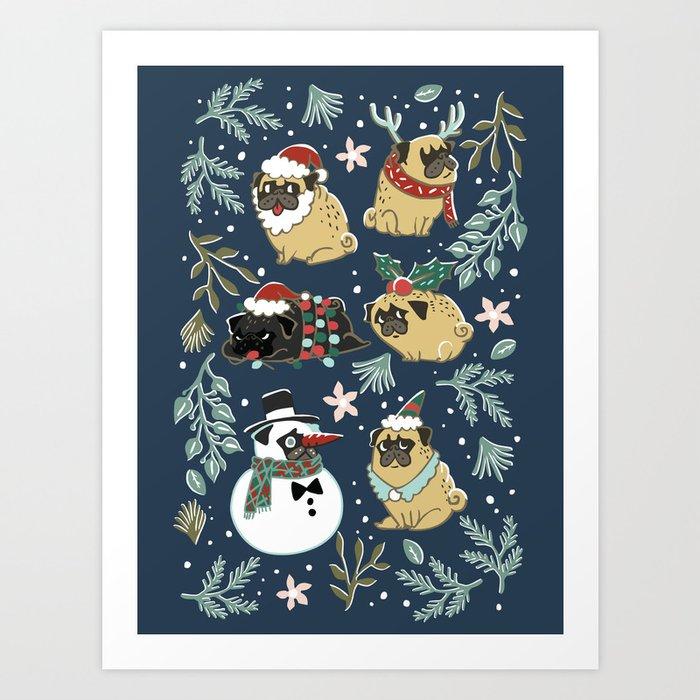 Christmas Pugs Kunstdrucke