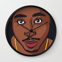 tupac Wall Clocks featuring Tupac by Michael Walchalk