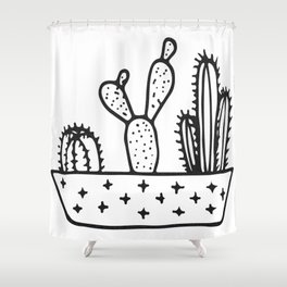 Cactus House Garden Black and White Shower Curtain