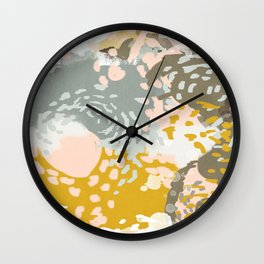 Hutton - Modern abstract painting for home decor and cell phone cases in gold grey mint white Wall Clock