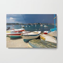 Colorful Boats of Corfu Metal Print