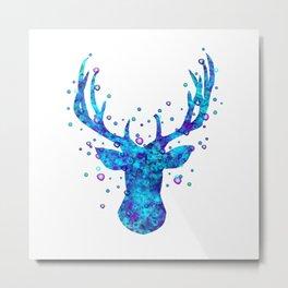 Watercolor Deer Head Metal Print