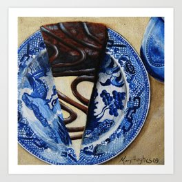 Brownie Cheesecake on Blue Willow Plate Art Print