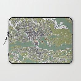 Stockholm city map engraving Laptop Sleeve