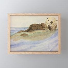 Mama and baby otters Framed Mini Art Print