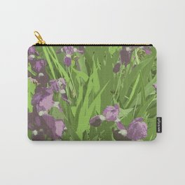 Irises, contemporary art, purple green Carry-All Pouch