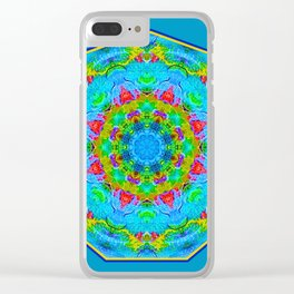Red Flower Blue Mandala Clear iPhone Case