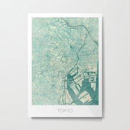 Tokyo Map Blue Vintage Metal Print