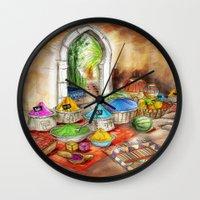 morocco Wall Clocks featuring Morocco by Helene Michau