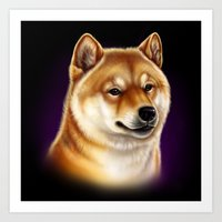 shiba inu Art Prints featuring Shiba Inu by Colour Pup