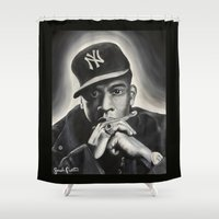 jay z Shower Curtains featuring Jay-Z by Sarah Painter