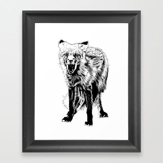 Angry Fox (b&w) Framed Art Print