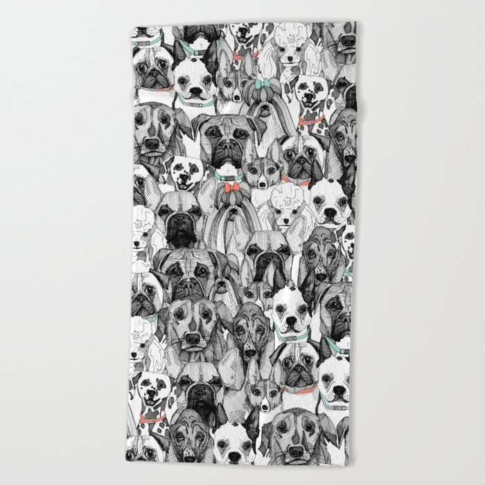 just dogs coral mint Beach Towel