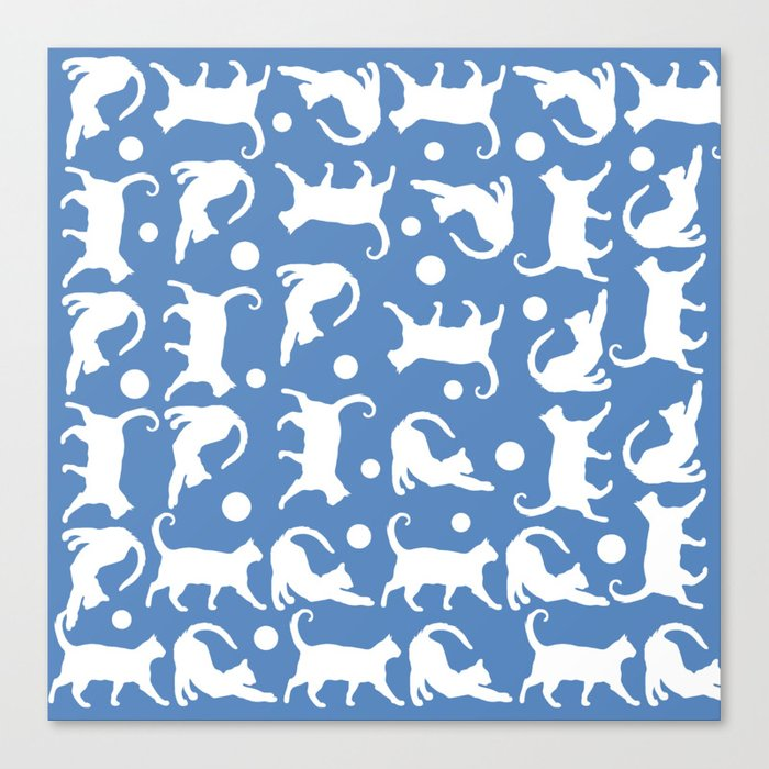 Cats Stretching: CHIN BLUE Canvas Print