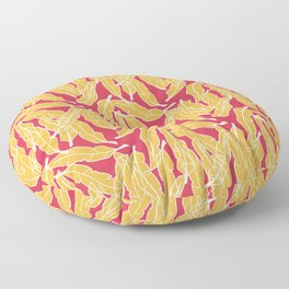 Big yellow feathers over pink background Floor Pillow