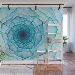 Aqua-green marine flower Wall Mural