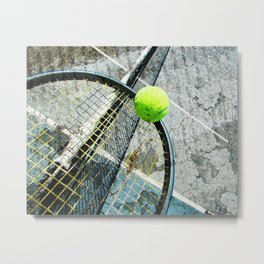 Modern tennis ball and racket 7 Metal Print
