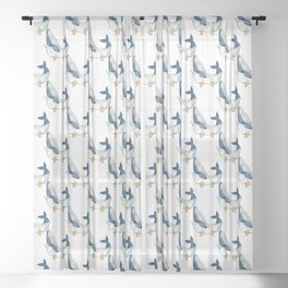 Humpback whale taking bath watercolor Sheer Curtain
