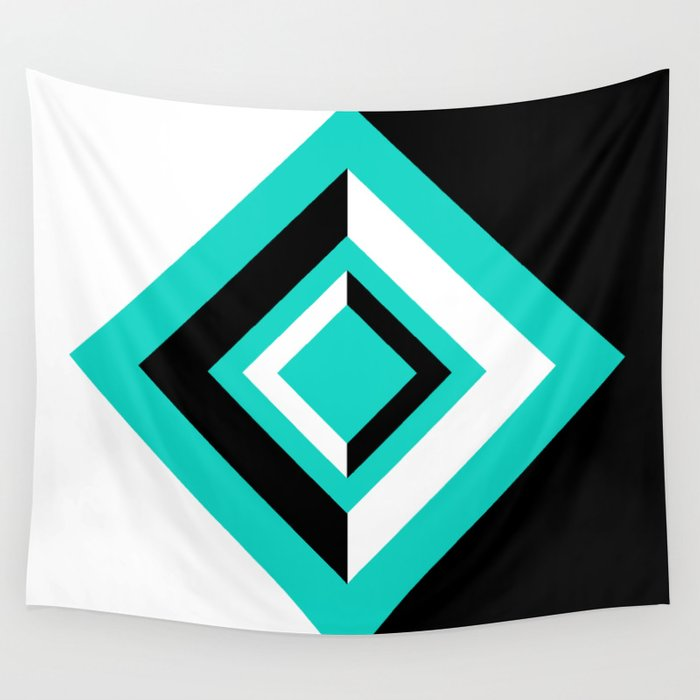 Teal Black and White Diamond Shapes Digital Illustration - Artwork Wall Tapestry