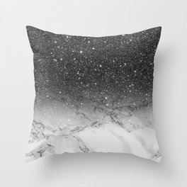 Stylish faux black glitter ombre white marble pattern Throw Pillow