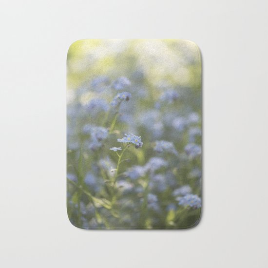Forget me not in LOVE - Blue Flower Floral Spring Flowers on #Society6 Bath Mat