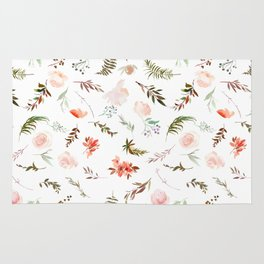 Coral pink green watercolor hand painted floral Rug