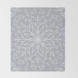 Single Snowflake - Silver Throw Blanket