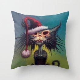 Zombie Cat Christmas Throw Pillow
