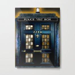 Tardis Sherlock Holmes 221B Metal Print