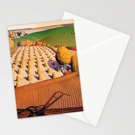 Classical Masterpiece 'Fall Plowing' by Grant Wood Stationery Cards