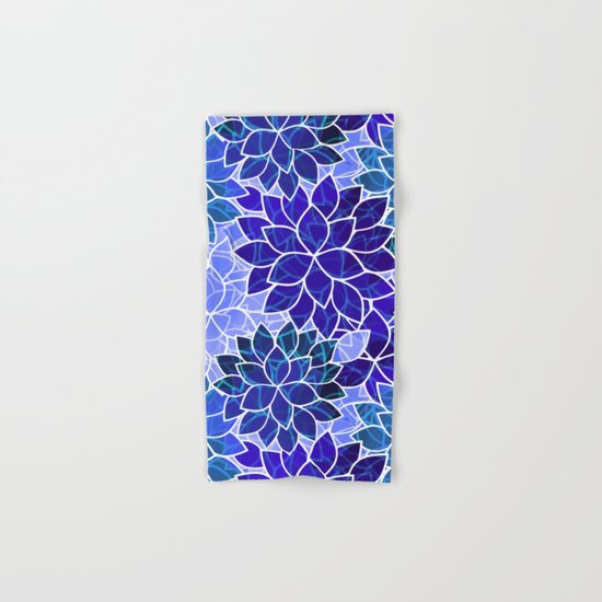 Azurite Blue Flowers Hand & Bath Towel