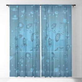Space Ship Jamboree in Blue Sheer Curtain