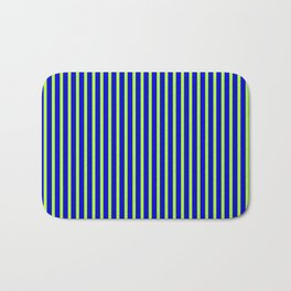 Blue and Light Green Colored Stripes/Lines Pattern Bath Mat