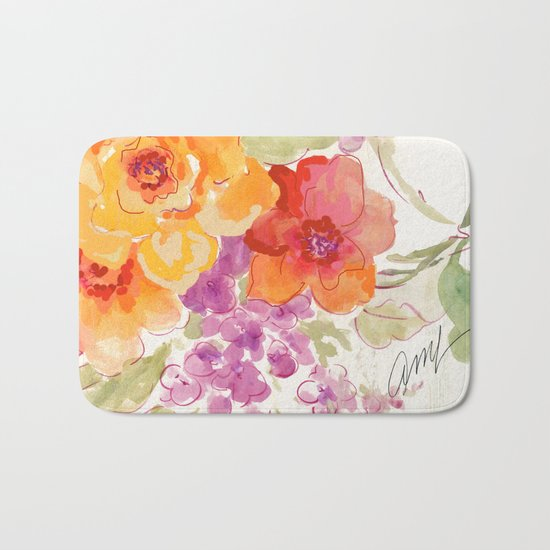 flower beach roses floral Bath Mat