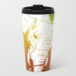 Rasta White African Elephant Metal Travel Mug