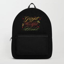 Grateful, Thankful, Blessed Design on Black Backpack
