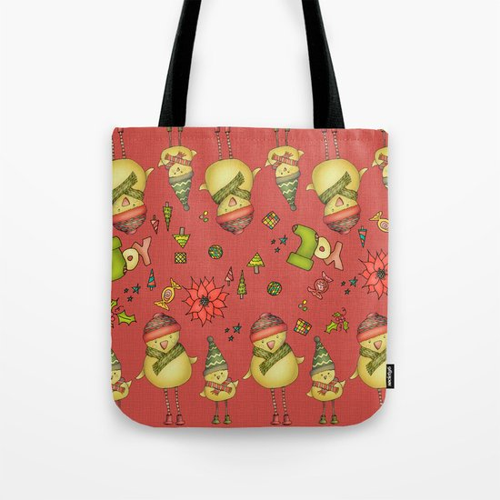 Two Chicks Pattern ~ Red Tote Bag
