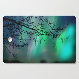 Tree Branch and Aurora Borealis Night Sky Cutting Board
