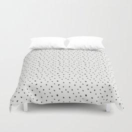 Hand painted black white watercolor polka dots brushstrokes Duvet Cover