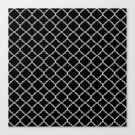 Black and White Moroccan Quatrefoil Canvas Print