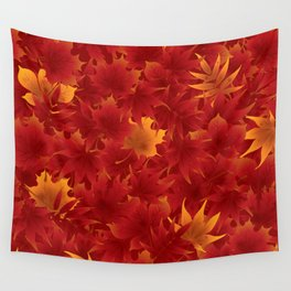 Seamless maple leaves pattern 002 Wall Tapestry