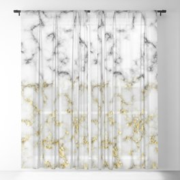 Black and white marble gold sparkle flakes Sheer Curtain