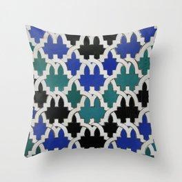 Mint and blue oriental ceramic tiles Throw Pillow