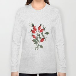 Watercolor Rosehips Long Sleeve T-shirt